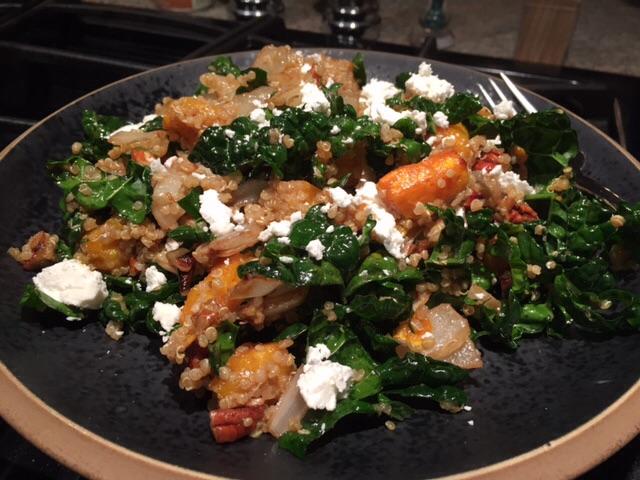 Warm Quinoa Kale Salad with Delicata Squash, Goat Cheese& Maple Black Cherry Vinaigrette