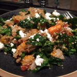 Warm Quinoa and Kale Salad with Delicata Squash and Goat Cheese