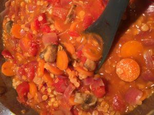 Vegetable Lentil Soup with Fresh Basil