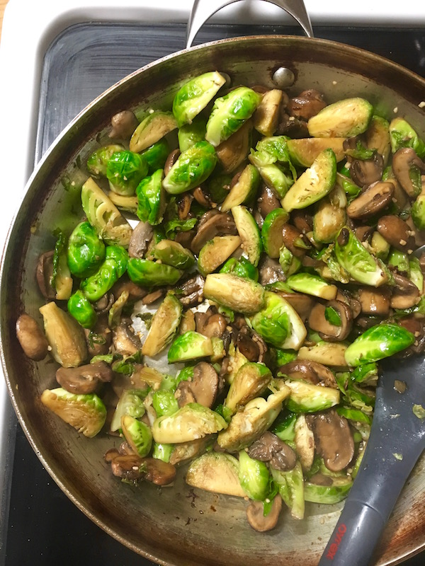 Sauteed Brussels Sprouts and Mushrooms
