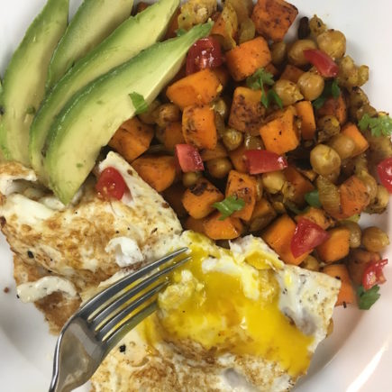 Sweet Potato & Chickpea Hash with Eggs and Avocado