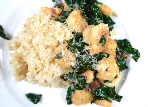 Lemon Teriyaki Shrimp with Kale over Brown Rice